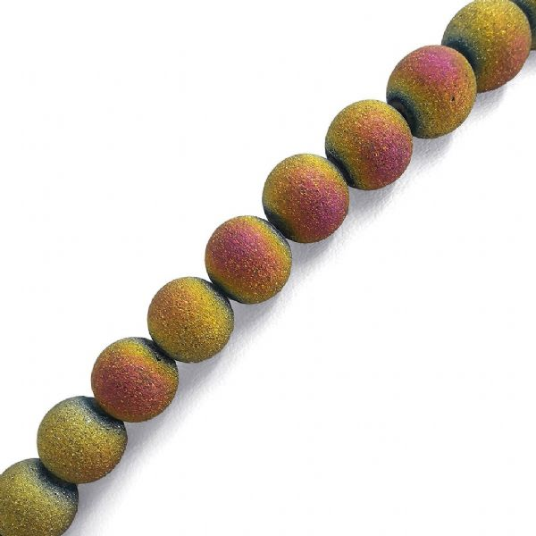 Yellow Pink Frosted Glass Round Bead